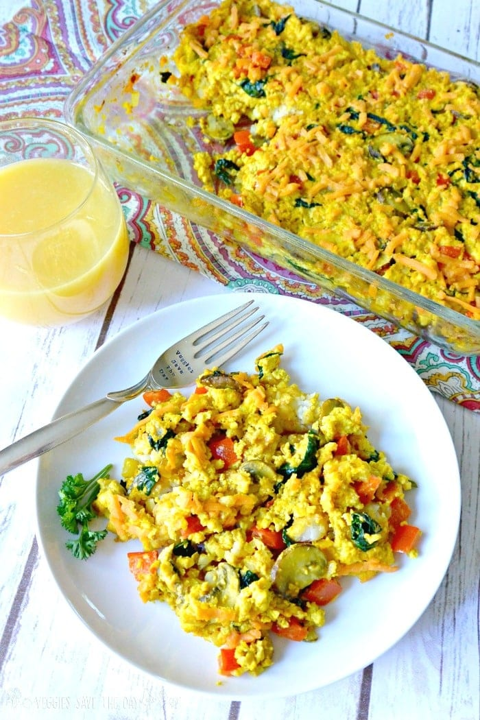 FitLiving Eats by Carly Paige - 17 Vegan Breakfast Recipes for Christmas Morning Tofu-Scramble-Tater-Tot-Casserole
