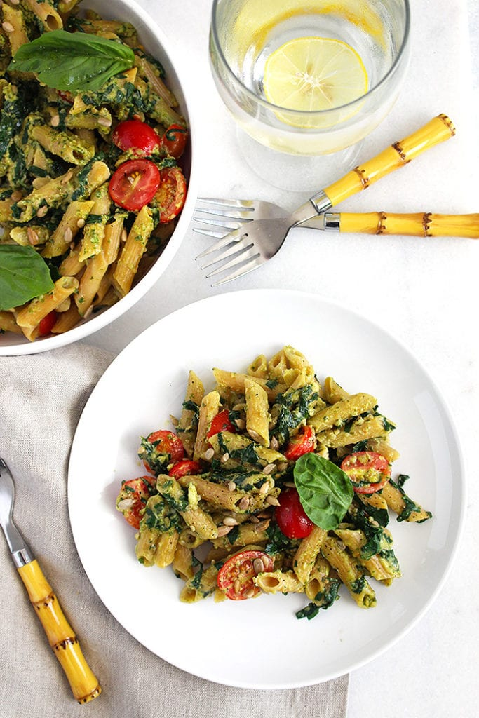 5 ingredient pesto pasta - FitLiving Eats by Carly Paige - 4