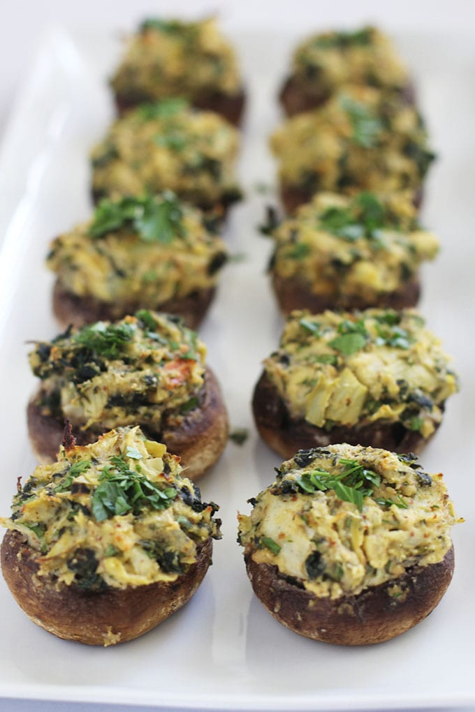 FitLiving Eats by Carly Page - 23 Vegan Superbowl Snacks - spinach-artichoke-hummus-stuffed-mushrooms-4