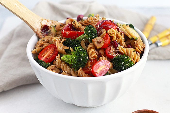 protein pasta salad featured Recipe FitLiving Eats by Carly Paige